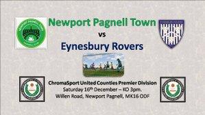 Next game at Willen Road! Swans vs Eynesbury Rovers - Saturday 16th December - KO 3pm