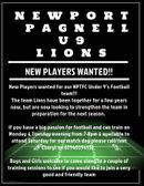 NPTFC Under 9s players wanted !!!!