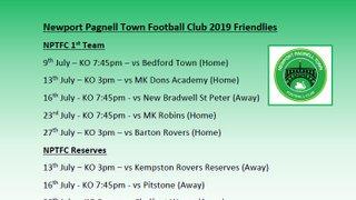 Newport Pagnell Town Football Club 2019 Friendlies