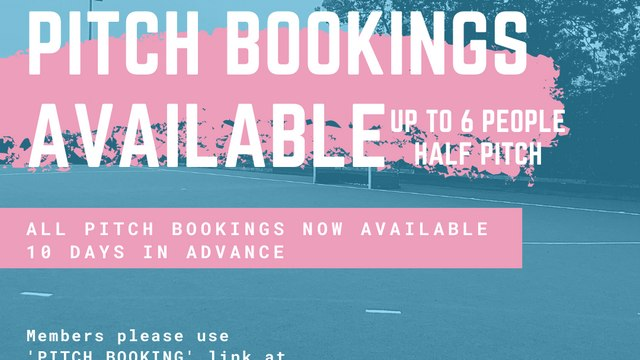 Pitch Bookings Available