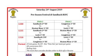 Plenty of Rugby at the club this Saturday 24th August