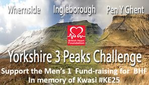 Men's 1s take on Three Yorkshire Peaks fund-raising challenge in memory of Kwasi