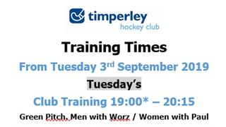 Don't Forget Training Times and Groups change from tonight (3rd September)