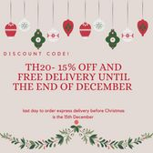 Order deadline for Xmas Delivery  (THC Express items) is 15th December 2020