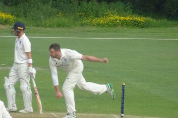 Jack Parker Bowling for Geddington 1st XI V Finedon Dolben 1st XI At Geddington Cricket Club. 1st June 2019.