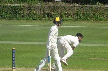 Al Mahmud Hasan Bowling for Geddington 1st XI V Finedon Dolben 1st XI At Geddington Cricket Club. 1st June 2019.