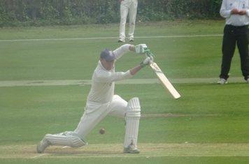 Tiaan Raubenheimer Batting for Geddington 1st XI V Finedon Dolben 1st XI At Geddington Cricket Club. 1st June 2019.