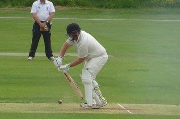 Chris Harrison Batting for Geddington 1st XI V Finedon Dolben 1st XI At Geddington Cricket Club. 1st June 2019.