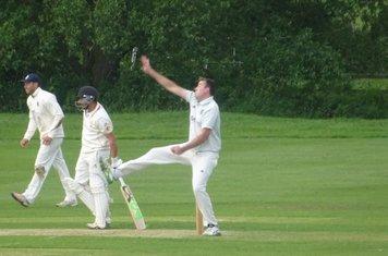 Chris Murdoch Bowling for Geddington 1st XI V Brigstock 1st XI At Brigstock Cricket Club. 8th June 2019.
