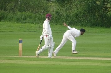 Al Mahmud Hasan Bowling for Geddington 1st XI V Brigstock 1st XI At Brigstock Cricket Club. 8th June 2019.