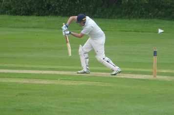 Chris Murdoch Batting for Geddington 1st XI V Brigstock 1st XI At Brigstock Cricket Club. 8th June 2019.