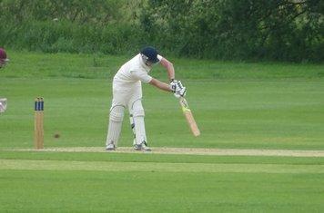 George Parker Batting for Geddington 1st XI V Brigstock 1st XI At Brigstock Cricket Club. 8th June 2019.
