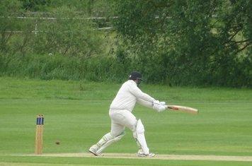 Chris Harrison Batting for Geddington 1st XI V Brigstock 1st XI At Brigstock Cricket Club. 8th June 2019.