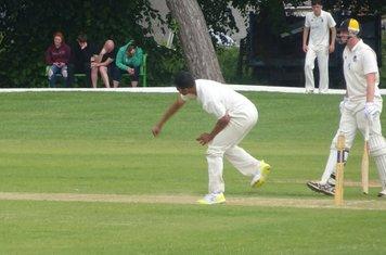 Adil Arif Bowling for Geddington T20 XI V Finedon Dolben T20 XI At Burton Latimer Cricket Club. 9th June 2019.