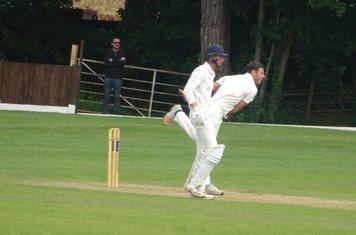 Bradley Armer Bowling for Geddington T20 XI V Finedon Dolben T20 XI At Burton Latimer Cricket Club. 9th June 2019.