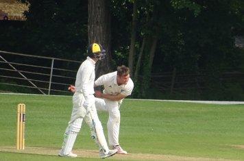 Cameron Braans Bowling for Geddington T20 XI V Finedon Dolben T20 XI At Burton Latimer Cricket Club. 9th June 2019.