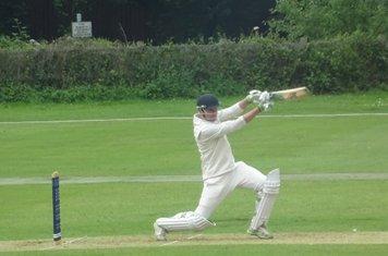 Tiaan Raubenheimer Batting for Geddington 1st XI V Wollaston 1st XI At Geddington Cricket Club. 15th June 2019.