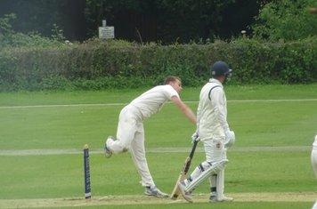 George Parker Bowling for Geddington 1st XI V Wollaston 1st XI At Geddington Cricket Club. 15th June 2019.