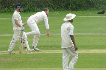 Jack Parker Bowling for Geddington 1st XI V Wollaston 1st XI At Geddington Cricket Club. 15th June 2019.