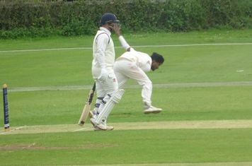 Al Mahmud Hasan Bowling for Geddington 1st XI V Wollaston 1st XI At Geddington Cricket Club. 15th June 2019.