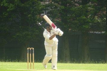 Adil Arif Batting for Geddington 1st XI V Rushden & Higham Town 1st XI At Rushden Town Cricket Club. 22nd June 2019.