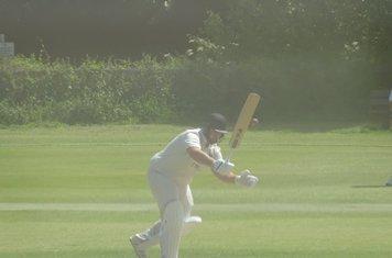 Chris Harrison Batting for Geddington 1st XI V Oundle Town 1st XI At Geddington Cricket Club. 29th June 2019.