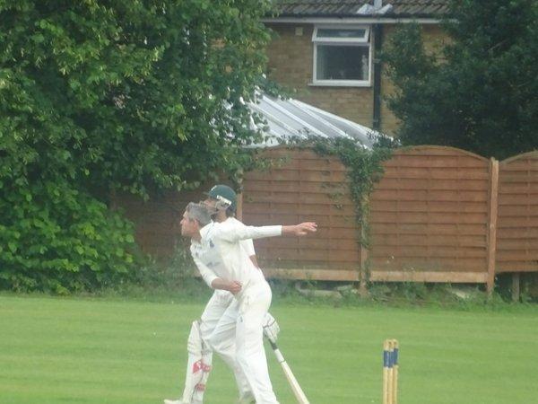 Tiaan Raubenheimer Bowling for Geddington 1st XI V Northampton Saints 1st XI At Northampton Saints Cricket Club. 3rd August 2019.