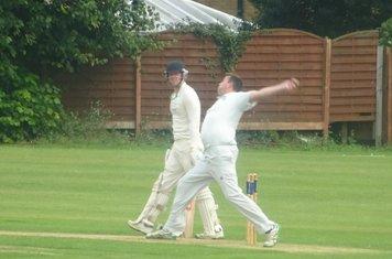 Chris Murdoch Bowling for Geddington 1st XI V Northampton Saints 1st XI At Northampton Saints Cricket Club. 3rd August 2019.