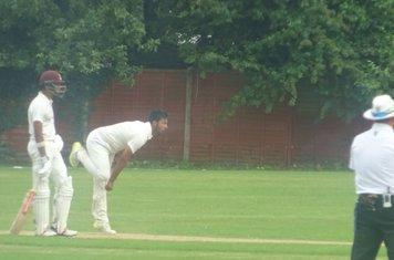Adil Arif Bowling for Geddington 1st XI V Northampton Saints 1st XI At Northampton Saints Cricket Club. 3rd August 2019.