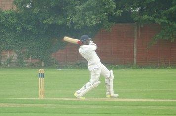Adil Arif Batting for Geddington 1st XI V Northampton Saints 1st XI At Northampton Saints Cricket Club. 3rd August 2019.