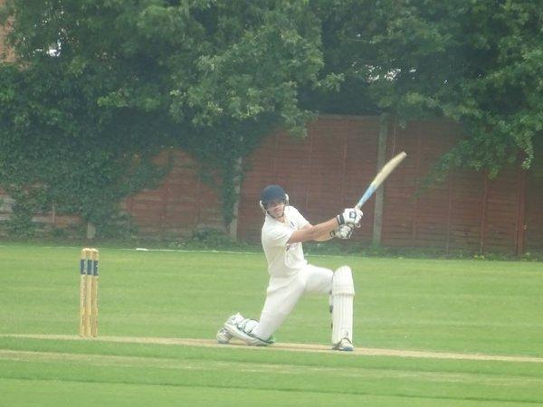 George Parker Batting for Geddington 1st XI V Northampton Saints 1st XI At Northampton Saints Cricket Club. 3rd August 2019.
