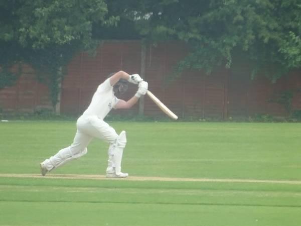 Ben Silver Batting for Geddington 1st XI V Northampton Saints 1st XI At Northampton Saints Cricket Club. 3rd August 2019.