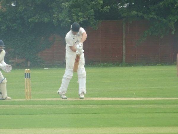 Jack Parker Batting for Geddington 1st XI V Northampton Saints 1st XI At Northampton Saints Cricket Club. 3rd August 2019.