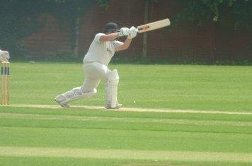 Chris Harrison Batting for Geddington 1st XI V Northampton Saints 1st XI At Northampton Saints Cricket Club. 3rd August 2019.