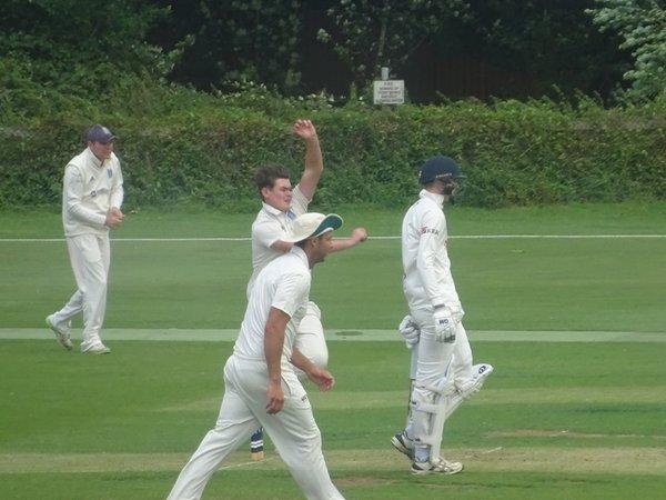 Ben York Bowling for Geddington 1st XI V Peterborough Town 1st XI At Geddington Cricket Club. 10th August 2019.