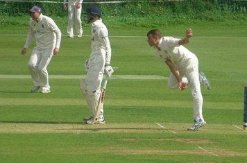 George Parker Bowling for Geddington 1st XI V Peterborough Town 1st XI At Geddington Cricket Club. 10th August 2019.
