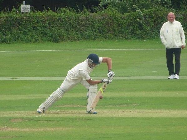George Parker Batting for Geddington 1st XI V Peterborough Town 1st XI At Geddington Cricket Club. 10th August 2019.