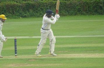 Adil Arif Batting for Geddington 1st XI V Peterborough Town 1st XI At Geddington Cricket Club. 10th August 2019.