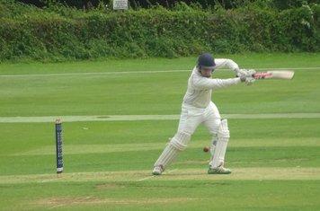 Patrick Harrington Batting for Geddington 1st XI V Peterborough Town 1st XI At Geddington Cricket Club. 10th August 2019.