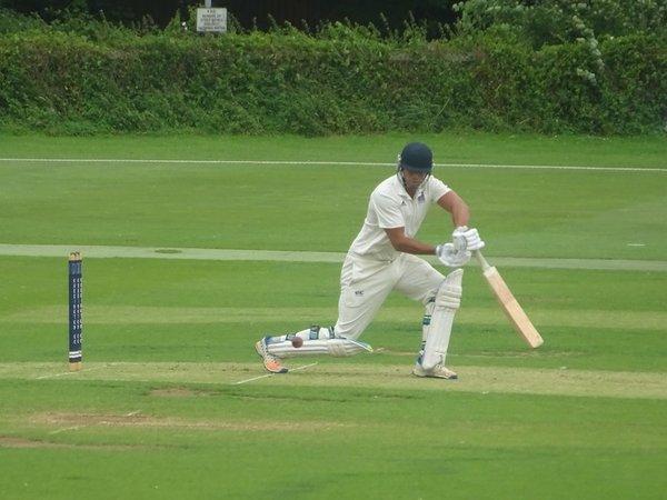 Bradley Armer Batting for Geddington 1st XI V Peterborough Town 1st XI At Geddington Cricket Club. 10th August 2019.
