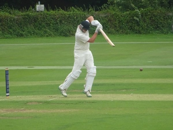 Jack Parker Batting for Geddington 1st XI V Peterborough Town 1st XI At Geddington Cricket Club. 10th August 2019.