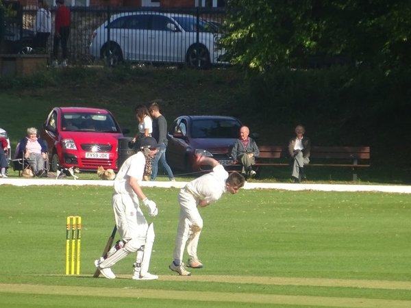 James Taylor Bowling for Geddington 1st XI V Finedon Dolben 1st XI At Finedon Dolben Cricket Club. 17th August 2019.