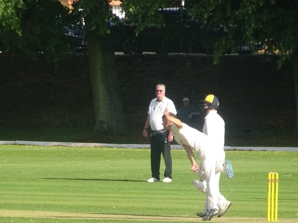 George Parker Bowling for Geddington 1st XI V Finedon Dolben 1st XI At Finedon Dolben Cricket Club. 17th August 2019.