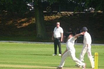 Cameron Braans Bowling for Geddington 1st XI V Finedon Dolben 1st XI At Finedon Dolben Cricket Club. 17th August 2019.