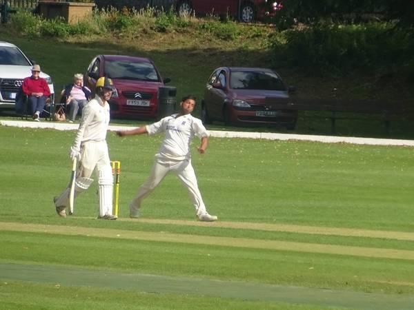 Adil Arif Bowling for Geddington 1st XI V Finedon Dolben 1st XI At Finedon Dolben Cricket Club. 17th August 2019.