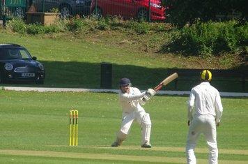 Patrick Harrington Batting for Geddington 1st XI V Finedon Dolben 1st XI At Finedon Dolben Cricket Club. 17th August 2019.