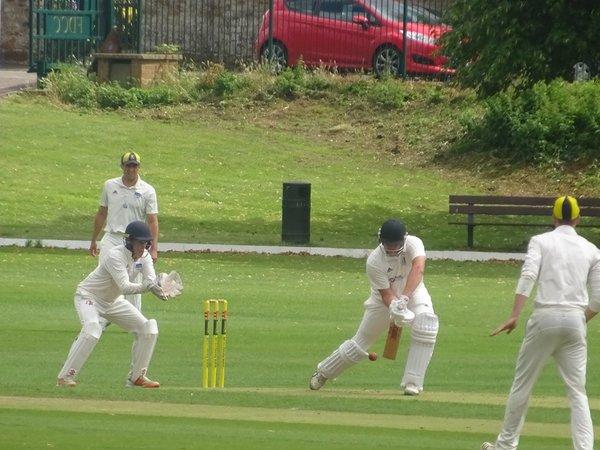 Jack Parker Batting for Geddington 1st XI V Finedon Dolben 1st XI At Finedon Dolben Cricket Club. 17th August 2019.