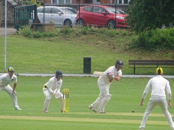 Andrew Reynoldson Batting for Geddington 1st XI V Finedon Dolben 1st XI At Finedon Dolben Cricket Club. 17th August 2019.