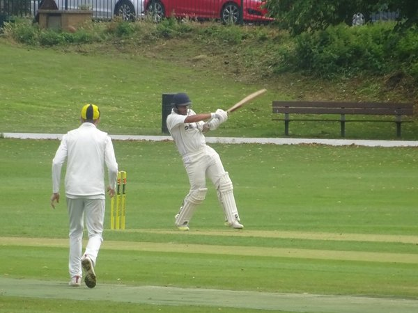 Adil Arif Batting for Geddington 1st XI V Finedon Dolben 1st XI At Finedon Dolben Cricket Club. 17th August 2019.
