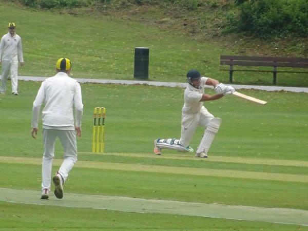 Bradley Armer Batting for Geddington 1st XI V Finedon Dolben 1st XI At Finedon Dolben Cricket Club. 17th August 2019.